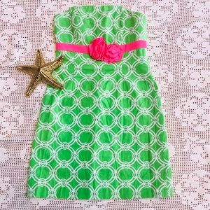 Lilly Pulitzer Green & White Strapless Dress
